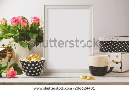 Poster template mock up with glamour and elegant feminine objects