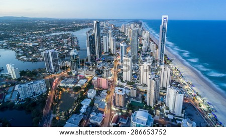 Gold Coast Beautiful Panorama Aerial view of Surfers Paradise City Skyline Cityscape with Light Trails from Q1 Building at dusk in summer Sunset, Australia #286653752