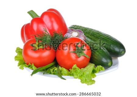 Fresh vegetables red pepper, cucumber, red tomato, isolated on white background #286665032