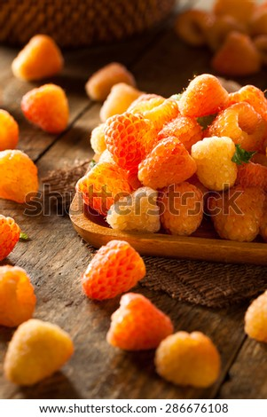 Raw Organic Orange Sunshine Raspberries Ready to Eat #286676108