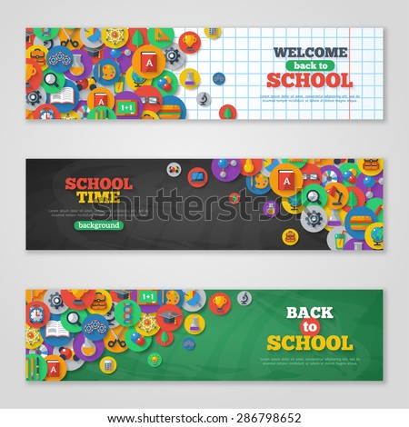 Back To School Banner Set With Flat Icons on Circles. Vector Illustration. Arts and Science Stickers. Education Concept.