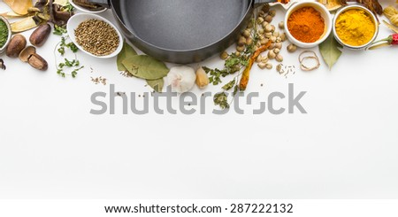 Group of indian spices and herbs difference ware on white background with top view and copy space for design foods, vegetable, spices, herbs or other your content. #287222132