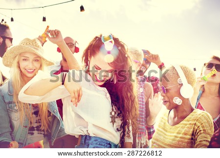 Teenagers Friends Beach Party Happiness Concept Royalty-Free Stock Photo #287226812
