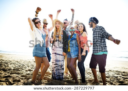 Teenagers Friends Beach Party Happiness Concept #287229797