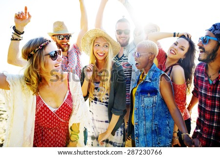 Teenagers Friends Beach Party Happiness Concept #287230766