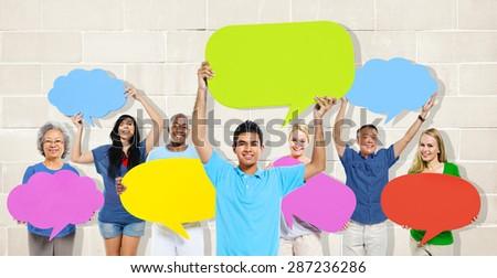 Diversity People Holding Colorful Speech Bubbles Concept #287236286