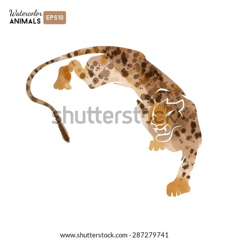 Watercolor vector logo of cheetah #287279741