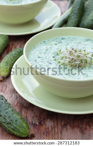Closeup of a bowl of cold cucumber and dill soup. #287312183