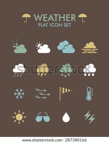Vector Flat Icon Set - Weather  #287380166