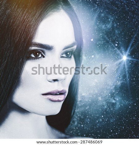 Look to the Universe, female portrait. NASA imagery used #287486069