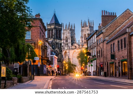 York, evening cityscape view from the street with York Minster in the background.England,United Kingdom,Europe Royalty-Free Stock Photo #287561753