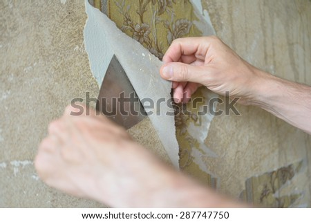 Removing the old wallpaper from the wall using trowel #287747750