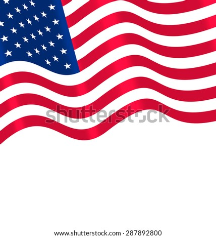Flags USA Waving Wind and Ribbon for Independence Day 4th Patriotic Symbolic Vintage Decoration for Holiday or Celebration Backgrounds - Vector #287892800