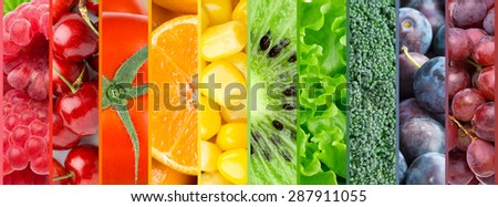 Healthy food background. Collection with color fruits, berries and vegetables #287911055