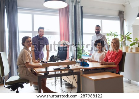 business, startup and people concept - happy creative team in office #287988122