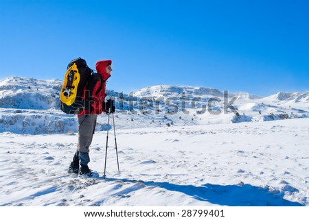 Hiker are in winter mountains #28799401