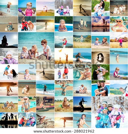 happy families spend their vacations. collage photos