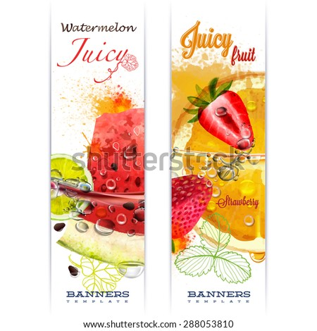 Banner with fruit in water splashes and drops of water juicy fruit watermelon, strawberry, orange, lime, watercolor, author's work. #288053810