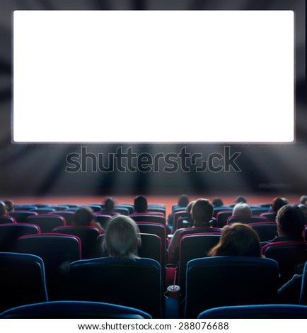 viewers watch motion picture at movie theatre, long exposure #288076688