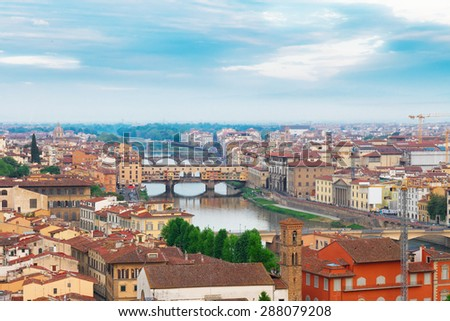 cityscape of Florence with famous bridge Ponte Vecchio, Florence, Italy #288079208