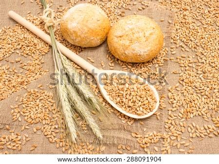 diet supplements wheat grain on canvas  #288091904