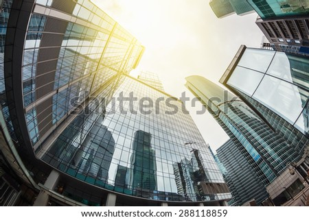 futuristic landscape of silhouettes of skyscrapers in the city. toning image. Focus on the tops of skyscrapers #288118859