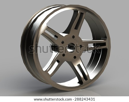 Automobile cast titanium disk isolated on a gray background #288243431