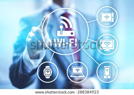 Wireless connection wi-fi technology illustration Royalty-Free Stock Photo #288384923