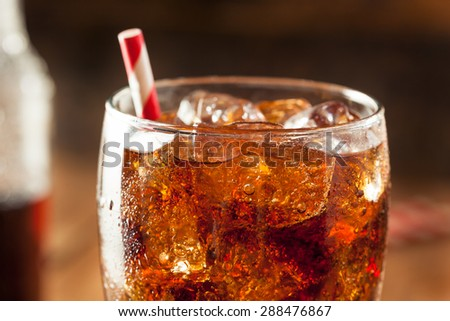 Refreshing Bubbly Soda Pop with Ice Cubes #288476867