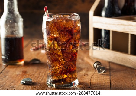 Refreshing Bubbly Soda Pop with Ice Cubes #288477014