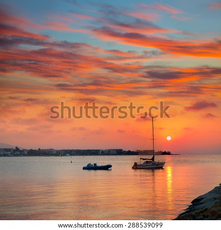 Denia beach sunset dusk in Mediterranean at Alicante Spain #288539099