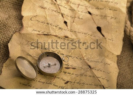 Compass on old letter #28875325