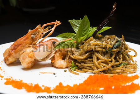 spaghetti with prawn #288766646