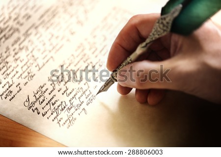 Writing with quill pen last will and testament or concept for law, legal issues or author Royalty-Free Stock Photo #288806003
