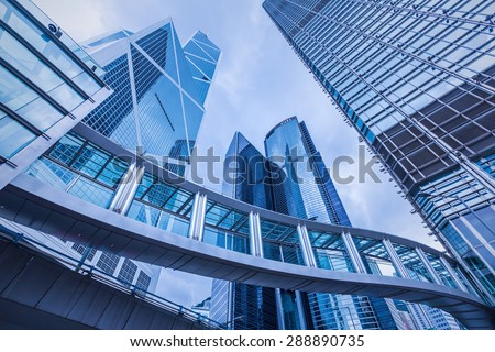Hongkong, China- June 2, 2015: Modern office buildings in  blue color tone . #288890735