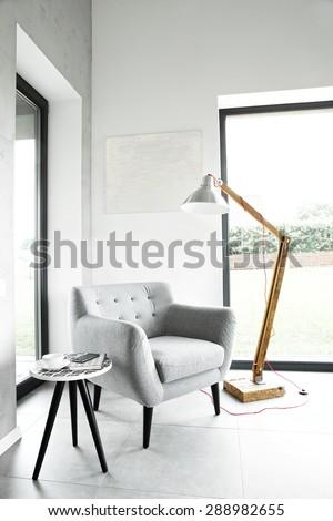 Armchair in living room, scandinavian interior #288982655