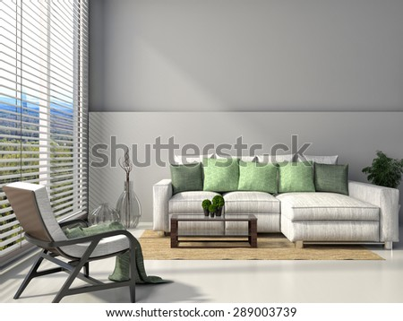modern interior with furniture. 3d illustration #289003739