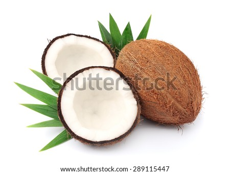 Coconuts with leaves on a white background #289115447