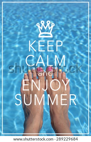 Inspirational Summer Quote Poster Background Design / Keep calm and enjoy summer