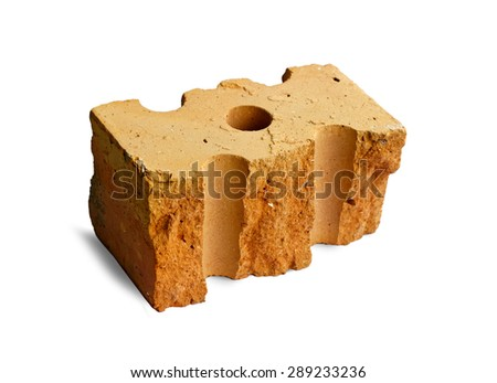 Fragment of broken brick with hole isolated over white background #289233236