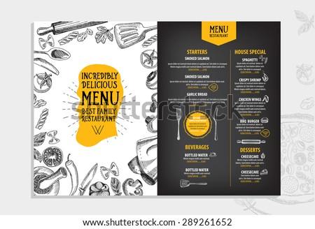 Restaurant cafe menu, template design. Food flyer. Royalty-Free Stock Photo #289261652