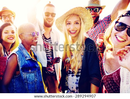 Teenagers Friends Beach Party Happiness Concept #289294907