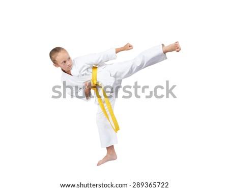 On a white background sportswoman beats blow Yoko geri #289365722