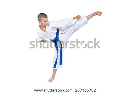 An athlete with a blue belt beats kick Yoko geri #289365782