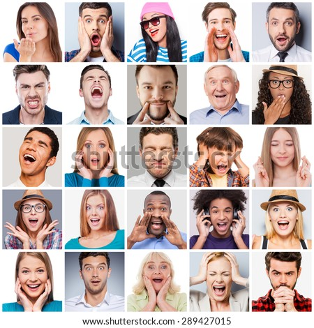 Diverse people with different emotions. Collage of diverse multi-ethnic and mixed age range people expressing different emotions  Royalty-Free Stock Photo #289427015