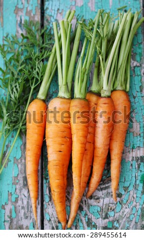 Fresh juicy small carrots on the board #289455614