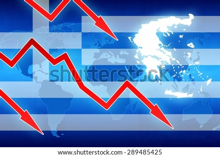 financial problems in Greece flag and red arrows - concept news background illustration #289485425