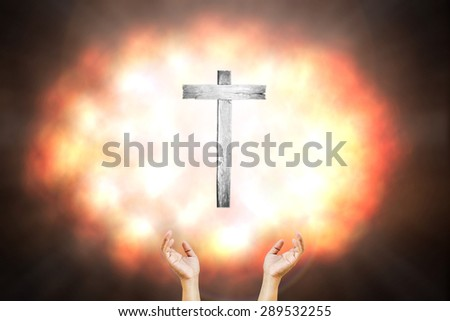The cross on a white background explosion colorful blur.  #289532255