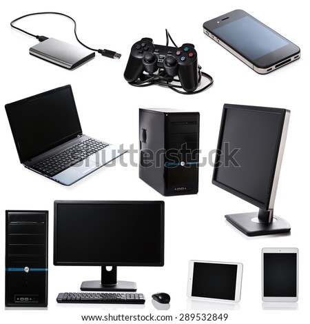 Set of different computer devices and hardware on white background #289532849