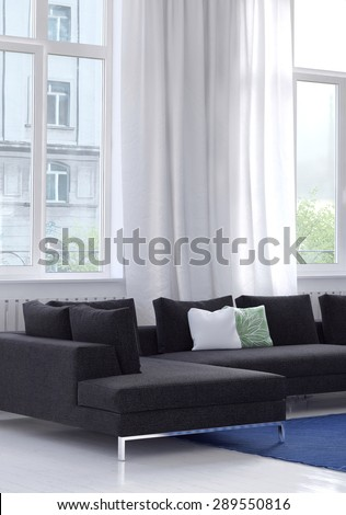 Modern modular upholstered lounge suite in a bright white living room in an apartment below large windows with white drapes and a view of an apartment block. 3d Rendering. #289550816